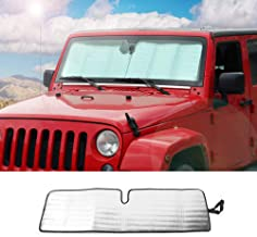 Front Windshield Sunshade Car Sun Shade Heat Shield JK Custom-fit Sunshade Sun Visor Mat for 2007-2017 Jeep Wrangler Rubicon Sahara TJ JK JKU 2/4 Doors