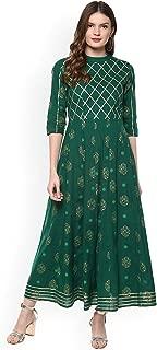 Women Green & Gold-Coloured Printed Anarkali Kurta By Dream Angel Fashion