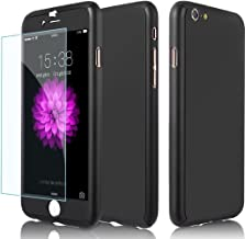 iPhone 6 Case, 360 Degree Full Cover, iPhone 6s Case, Full Protection Shock-Absorption, Tempered Glass Film, iPhone 6 Plus Case, Ultra-Thin, Slim, Mobile Phone Cover, Shockproof, PC Material, Hard Case, Drop Prevention (iPhone 6/6s, Black)