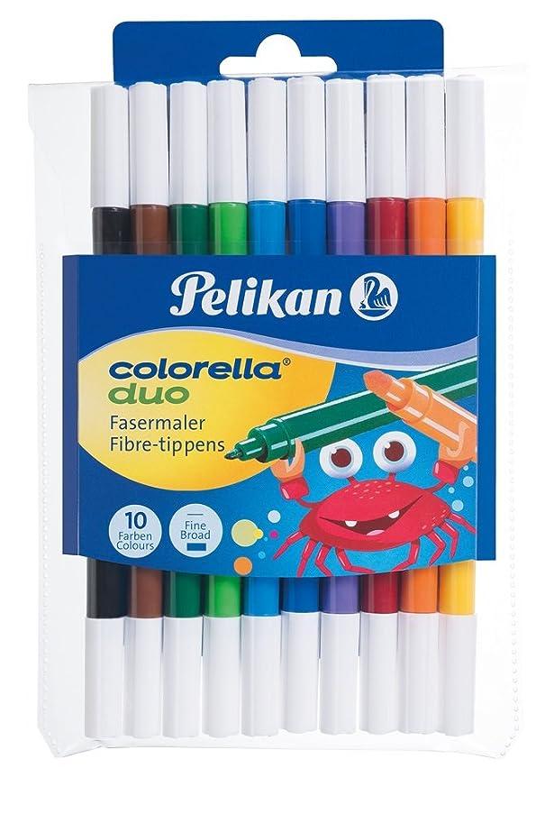Pelikan 973172, Fibre Tip Pens Colorella Duo, Broad and Fine, 10 Pieces, in Plastic Case