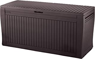 Keter Comfy 71 Gallon Resin Plastic Wood Look All Weather Outdoor Storage Deck Box, Brown