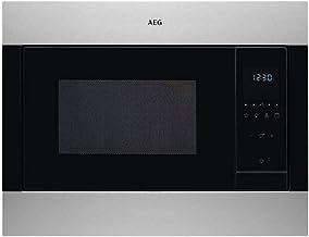 AEG MSB2548C-M Microondas Integrable con Grill de 1100 W, Display LED táctil, Luz interior, Apertura electrónica, Programa descongelar, Convección, Marco Semi-Integrado, 900 W, Negro/ Inox, 23 L