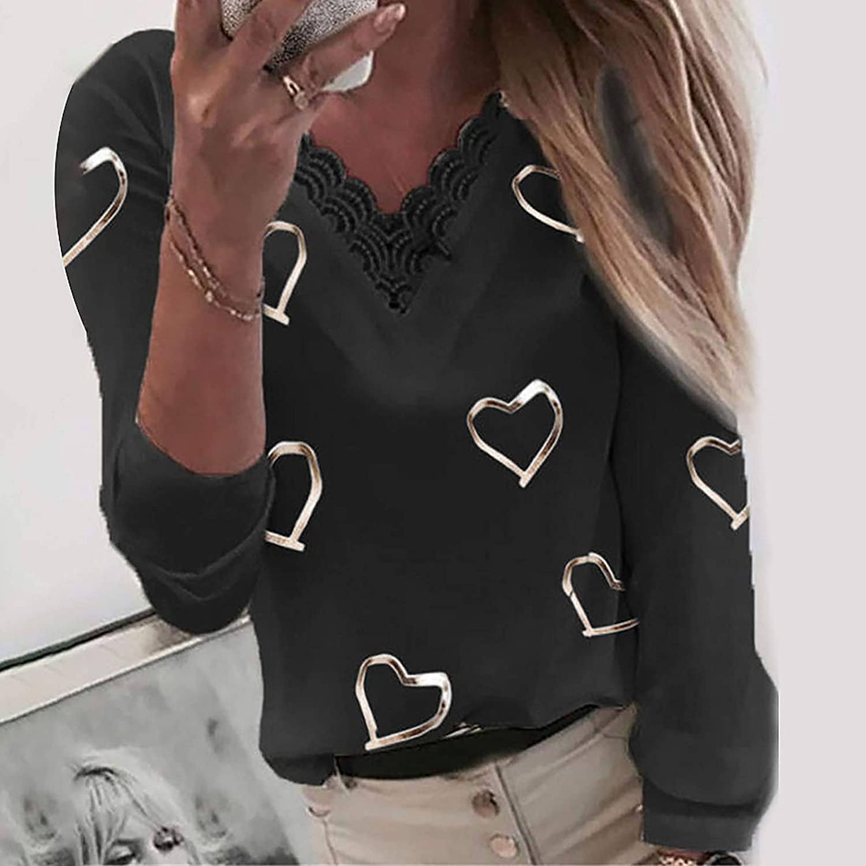 Aukbays Women's V Neck Long Sleeve Lace Shirts Blouses Vintage Elegant Tunic Tops Heart Print Graphic Tee T-Shirts Shirt