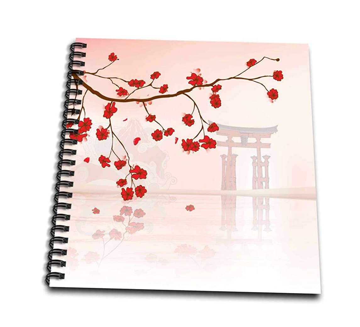 3dRose db_116168_1 Beautiful Japanese Sakura Red Cherry Blossoms Branching Reflecting Over Water Oriental Vector Design Drawing Book, 8 by 8
