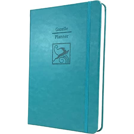 Gazelle Planner - Guided Daily Planning to Improve Organization, Time Management & Success. Daily, Monthly & Weekly Goals, 6 x 9 inches, 6 Month UNDATED Planner (Teal Blue)