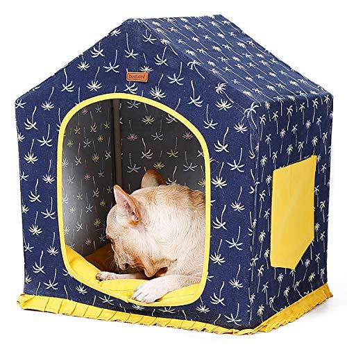 EODPOT Haustierzelt für Hunde Welpenkatze mit Bett Haustierhaus Katze/Hund, abnehmbares und waschbares Vierjahreszeitenbett, DIY Hundehütte, Spielhaus mit Kissen