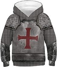 Kids Boys Armor Templar Knight Medieval Hoodie Cosplay Sweatshirt Costume