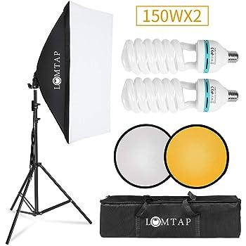 ソフトボックス 写真撮影照明キット150W 50×70cm プロな写真撮影ソフトクーラーボックス 良い安定感 色温度 5500K リフレクター スタジオ撮影用 ポートレート写真撮影用 ビデオ録画用
