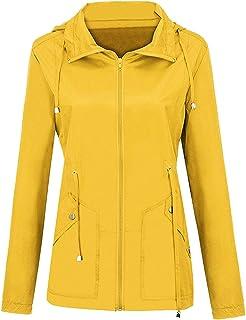 CIVICHIC 女性の 秋 冬 引き紐 屋外 防水コート防風の 緩いです ルーズ アウターウェア ファッション フード付き レインコート 雨の日 ジャケットトレンチコート(黄-3XL)