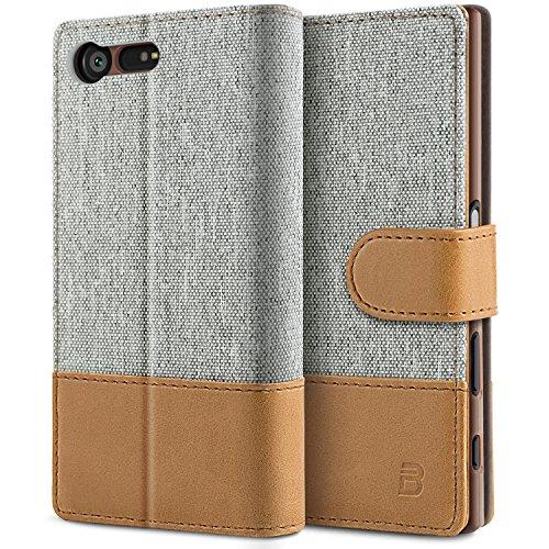 BEZ Hülle für Sony Xperia X Compact Hülle, Handy Hülle Kompatibel für Sony Xperia X Compact, Handytasche Schutzhülle Tasche [Stoff & PU Leder] mit Kreditkartenhaltern - Grau