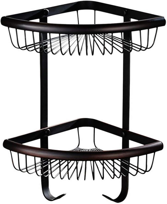 Double Bathroom Corner Frame, gold Copper Hooked Fan-Shaped Basket Basket, Multi-Function Bathroom Kitchen Small Object Corner Basket