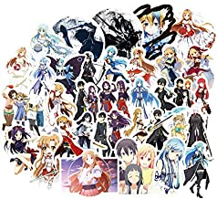 Sword Art Online Waterproof Car Stickers/Decals (50 pcs) of Japanese Anime Cartoon for Laptop Skateboard Snowboard Water Bottle Phone Car Bicycle Luggage Guitar Computer PS4 (Sword)