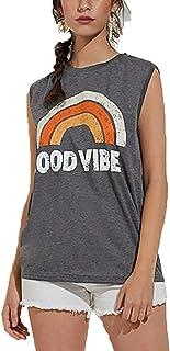 كامي Women's Good Vibe Tank Tops Tees Casual Rainbow Letters Print Vest T-Shirt Top Blouse Shirt غير رسمي (Color : Orange,...