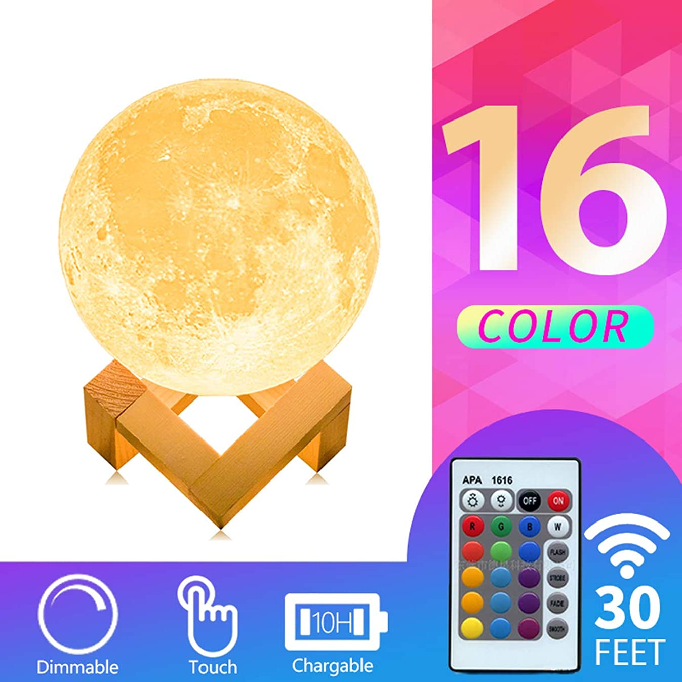 Mydethun Moon Lamp 16 Colors LED 3D Print Moon Light with Stand Remote Touch Control and USB Rechargeable Night Lights Gift for Women Baby Kids Lover Birthday Party (φ 3.9 Inch with Wood Base)