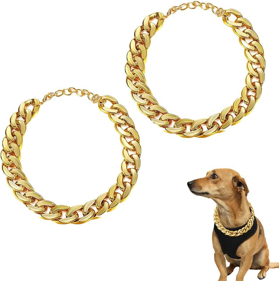 Collar de Perro Oro, 2 Piezas Cadena de Oro Perro, Cadena Oro para Perros, Collar de Cadena Metal Perros, Ligero, Adecuado para Gatos Pequeños y Cachorros Teddy French Bulldogs, Estilo Hip-Hop