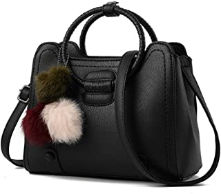 Well-made Casual Business Lady Bag Hair Ball Bracelet Messenger Bag Simple Backpack: 24 * 12 * 20cm Sophisticated and compact (Color : Black)