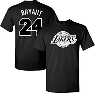 LA Lakers James, Bryant & Kuzma Black & White Jersey T-Shirt with Full Colors Digital Printed Front & Back.