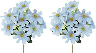 Tutuziyyy 2 Bouquets Artificial Chrysanthemum Flowers Fake Garden Cosmos for Memorial Day, Cemetery, Home Office, Wedding, Restaurant Décor, Blue
