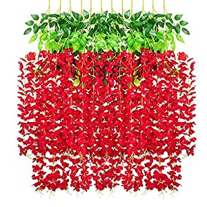 Lmeison 12 Pack 3.6Ft Artificial Wisteria Flowers, Fake Wisteria Vine Ratta Hanging Garland Silk Flowers String Home Party Wedding Decor, Red