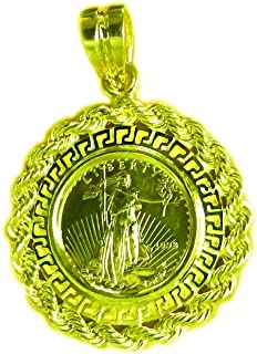 22Kt Fine Gold 1/10 Oz US Liberty Coin-14Kt Yellow Gold Greek Key/Rope Coin Pendant-Rndom Year Coin