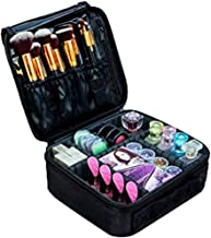 House of Quirk Makeup Cosmetic Storage Case With Adjustable Compartment - Black