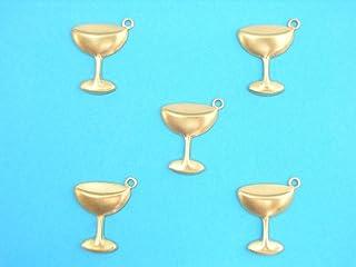 LOT 5 CHARMS METAL Doré : Coupe champagne 16 mm - Pendentif décoratif en métal - DIY pour embellissements de bijoux , scra...
