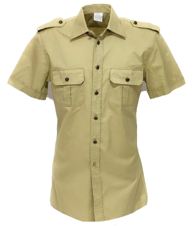 Camisa Ejército Italiano Manga Corta Hombros y Bolsillos Ordenanza Soldado, beige, 17 1/2: Amazon.es: Deportes y aire libre