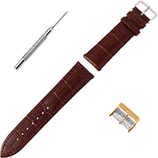 ibasenice Calfskin Leather Watch Band Alligator Embossed Pattern Watch Strap Universal Replacement Watch Belt (22mm)