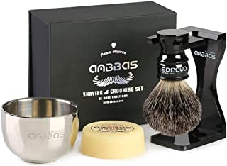 Shaving Set, 4in1 Anbbas Pure Black Badger Shaving Brush with Long Resin Handle and Acrylic Thicken Shaving Stand,Soap Bowl Stainless Steel and Goat Milk Shaving Soap 100g Men Gift Kit