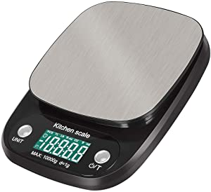 Digital Scales CPYPP Digital Kitchen Scale 10kg Food Scale Multifunction Weight Scale Electronic Baking & Cooking Scale with LCD Display Silver Black