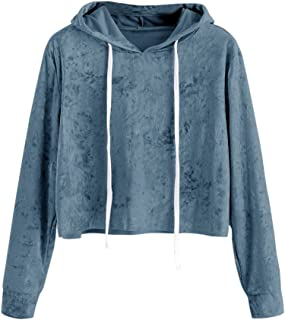 Hoodie Womens Long Sleeve Sweatshirt Velvet Jumper Solid Hooded Pullover Casual Shirt Tops Blouse