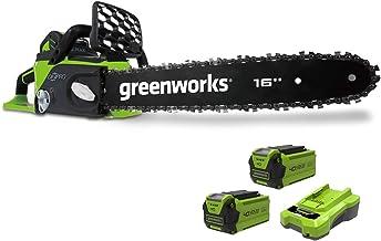 Greenworks Tools 20077UC Kettingzaag Met Borstelloze Motor Gereedschap + 2 Accu'S 2 Ah + Oplader, 40cm (1KW), Groen