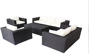husen 5pc Modern Outdoor Backyard Wicker Rattan Patio Furniture Sofa Set (Beige White)