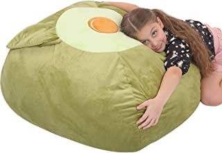 Youngeyee Giant Avocado Stuffed Animal Storage Kids Bean Bag Chair Cover, 24x24x20 Inches Velvet Toy Organization and Storage Zipper Bags for Plush Toy Pillows Blankets Towels Clothes