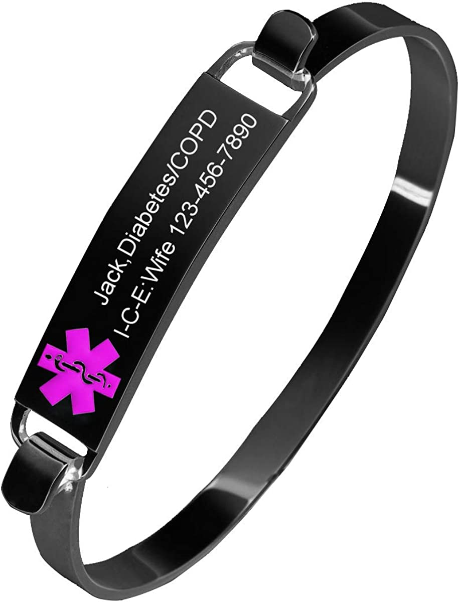 MZZJ Free Engraving Medical Alert ID Cuff Openable Bangle Bracelet for Women Girl Polish Stainless Steel Medical Condition Bracelet,Medical Emergency Jewelry.6.88 Inch,Silver//Black