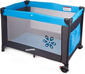 Baby Play Bed  Simple Portable Foldable Play Bed  Suitable for Indoor and Outdoor  Color Blue