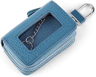 Leather Leather Key Case Double Zipper Open Window Leather Car Key Holster Waterproof (Color : Blue, Size : S)
