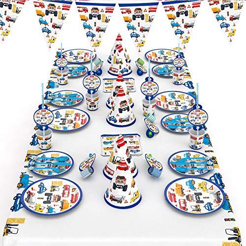 mreechan Set de Fiesta de Engineering Car, Vajilla desechable,cumpleaños Supplies Set Contiene manteles, Cubiertos, silbatos, manteles, pajitas para cumpleaños, Navidad, acción de Gracias, etc.