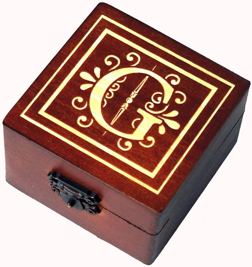 Pongs Wooden Monogram Gift Box Ranking integrated 1st Max 80% OFF place Jewelry Favor Groo Wedding