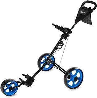JANUS Golf Push Cart, Golf cart for Golf Clubs, Golf Pull cart for Golf Bag, Golf Push carts 3 Wheel Folding, Golf Accesso...
