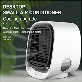 Zooarts 2020 Nuevo Mini Enfriador Portátil USB Aire Acondicionado 3 en 1 Ventilador Purificador Humidificador - 2020 Rechargeable Water-Cooled Air Conditioner Mini Aire Acondicionado Portátil (White)