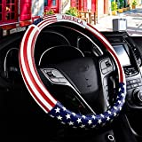 Dotesy Leather Steering Wheel Cover, Fashion USA American Flag Style Steering Wheel Cover Protector Universal for 36.5-38cm (American Flag)