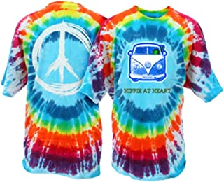 Peace Frogs Hippie at Heart Frog Adult Unisex Tie-Dye Short Sleeve T-Shirt - Great Lightweight Cotton T-Shirt