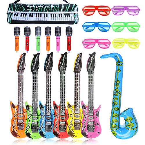 CCINEE 20pcs Inflatable Musical Instruments Set Guitars Microphones Saxphones Keyboard and Plastic Shutter Shading Sunglasses for Kids Party Christmas New Year Favor Supply