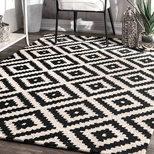 nuLOOM 200MTVS174A-508 Kellee Contemporary Wool Rug, 5' x 8', Black
