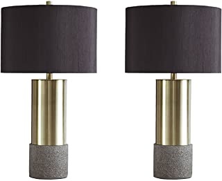 Ashley Furniture Signature Design - Jacek Table Lamps - Set of 2 - Contemporary - Gray/Brass Finish