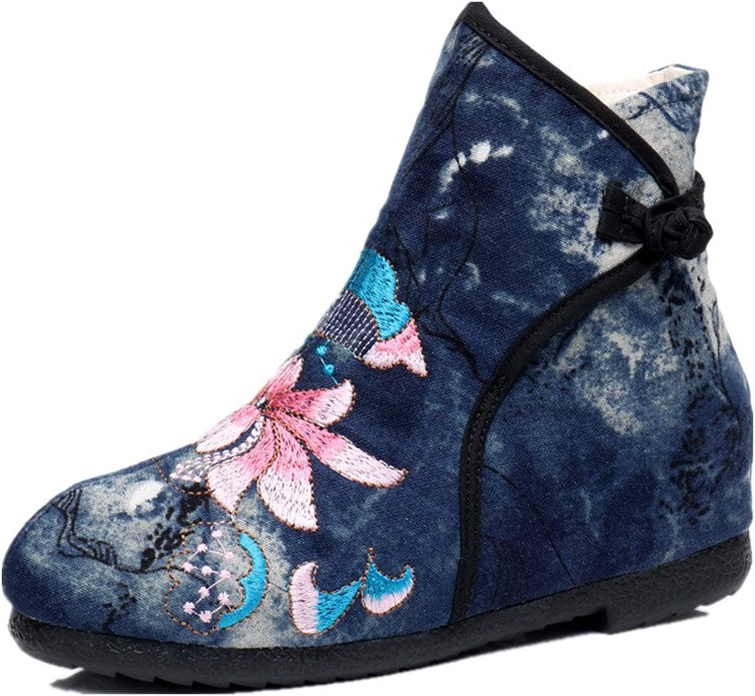 Tianrui Crown Women and Ladies The Lotus Embroidery Ankle Boots shoes