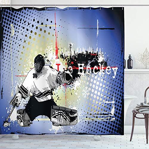 ABAKUHAUS Eishockey Duschvorhang, Spieler Schnee Stadtbild, mit 12 Ringe Set Wasserdicht Stielvoll Modern Farbfest & Schimmel Resistent, 175x220 cm, Mehrfarbig