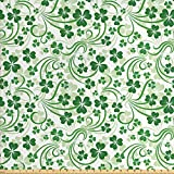Lunarable Shamrock Fabric by The Yard, Lucky Celtic Clovers Swirls Monochrome Irish Design St Patrick's Day, Decorative Fabric for Upholstery and Home Accents, 1 Yard, Green Emerald