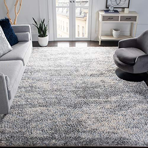 SAFAVIEH Berber Shag Collection BER219G Modern Abstract Non-Shedding Living Room Bedroom Dining Room Entryway Plush 1.2-inch Thick Area Rug, 9